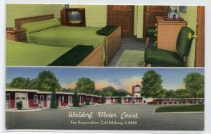 Waldorf Motor Court Motel Interior TV Exterior Maryland linen postcard