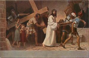 Via crucis Fugel 1932 religion postcard Jesus Christ V