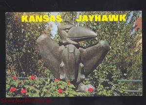 UNIVERSITY OF KANSAS JAYHAWKS LAWRENCE KANSAS JAYHAWK STATUE OLD POSTCARD