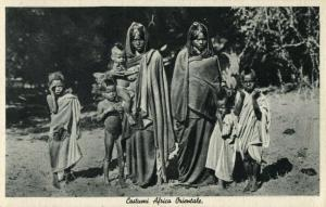 Italian East Africa, Group of Native Women and Children (1930s) Postcard