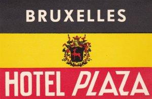 Belgium Brussells Hotel Plaza Vintage Luggage Label lbl0925