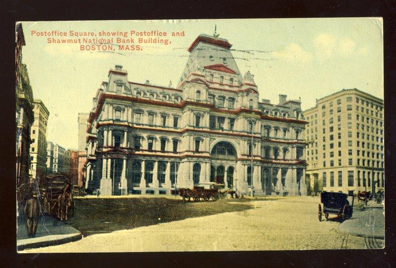 Boston, Massachusetts/MA Postcard, Post Office & Shawmut National Bank, 1910!