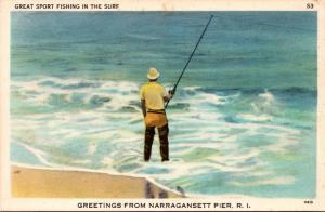 Rhode Island Greetings From Narragansett Pier Sport Fishing In The Surf