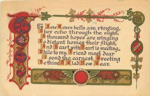 Arts & Crafts New Year's Saying 1911 Postcard 3920