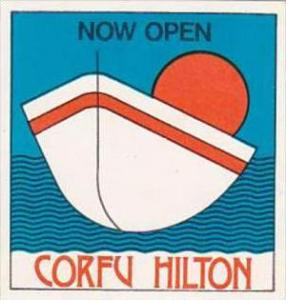 GREECE CORFU HILTON HOTEL VINTAGE LUGGAGE LABEL