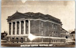 Beatrice, Nebraska RPPC Real Photo Postcard CHRISTIAN CHURCH Street View 1908