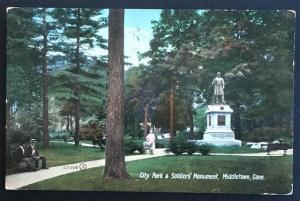 City Park & Soldiers' Monument Middletown Conn 1909 Valentine & Son's Publ Co