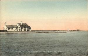 Saybrook Point CT Lighthouse Hand Colored Postcard