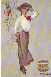 Nebraska Beautiful Girl With State Emblem Nebraska Girl 1908