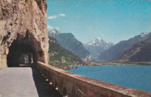Switzerland Axenstrasse am Vierwaldstaettersee mit Fluelen und Bristenstock 1964