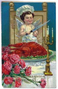 Demster to Deerfield, New York 1912 embossed Thanksgiving Postcard, Turkey