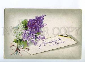 240659 Greeting LILAC Flowers Vintage WWI POST FELDPOST PC