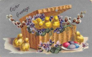 Easter~Chicks In Hinged Lid Wicker Basket~Colored Eggs~Violets~Silver Back~TUCK