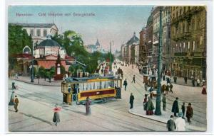 Georgstrasse Tram Streetcar Cafe Kropke Hanover Hannover Germany 1910c postcard
