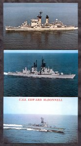2901 - USN Navy Lot of (3) Postcards USS Albany, Faragut, Edward McDonnell