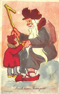 Christmas Gray Suited Santa Claus Signed Grilitis Postcard