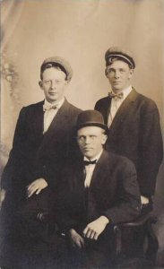 Three Gentlemen With Bow Ties & Hats Posing For Picture Real Photo