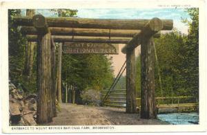 Mount Rainier National Park Highway Entrance Sign, Washington WA, White Border