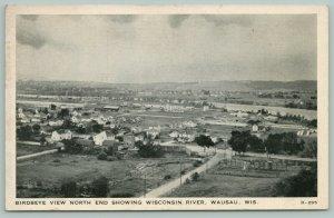 Wausau Wisconsin~Birdseye North End to River~Homes~Roads~Long Bldg~1930s B&W