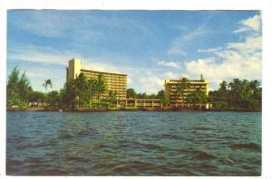 Ship's eye view of the beautiful new Naniloa Hotel , Hilo, Hawaii, 40-60s