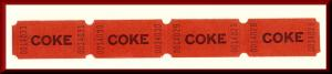 Four Vintage Coke/Coca-Cola Raffle Tickets, Free Drink Give-Away, 1970's?