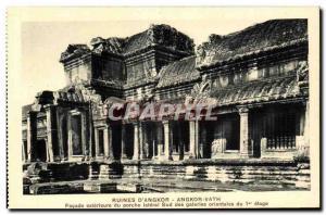Old Postcard Cambodia Ruins of Angkor Vath Exterior Facade