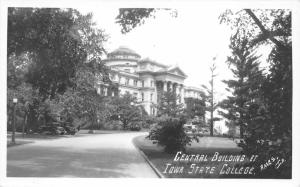 Ames Iowa State University (College)~Central Building~1930s Cars~Real Photo PC