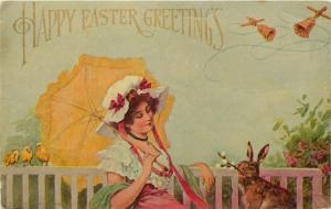 Easter~Bunny Rabbit Brings Pretty Woman Pussy Willows~Artist RR Wichera~1905 PC