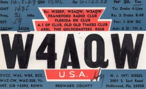 Frankford Radio Club Florida Pensioners USA Old Timers Radio Postcard QSL Card