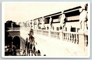 Sarasota Florida~John & Mable Ringling Mansion~Statues on Balustrade~1940s RPPC