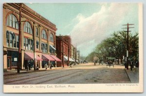 Waltham MA~Main Street Stores~Red White Stripe Awnings~c1905 Color Rotograph
