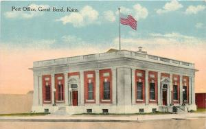 Great Bend Kansas~Post Office All Alone~Parapet, Mail Drop Box~c1914 Postcard pc