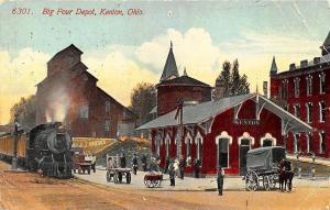 Kenton OH 1915 Railroad Depot Train Station Postcard