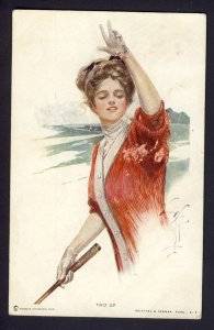 TWO UP #108 R&N woman holds tennis racquet?,  HARRISON FISHER artist