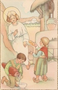 Children offer food to Child Jesus Lovely Spanish religious Postcard 1940s