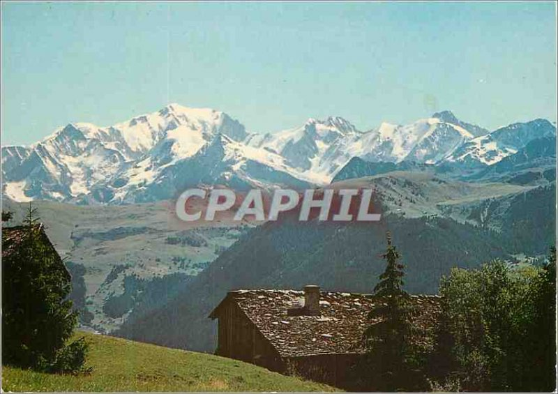 Postcard Modern Beaufortin (Savoie) Chalet Vieux and the Mont Blanc Chain