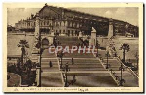 Old Postcard Marseille Gare And Monumental Staircase