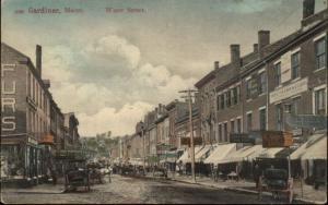 Gardiner ME Water Street Scene c1905 Postcard
