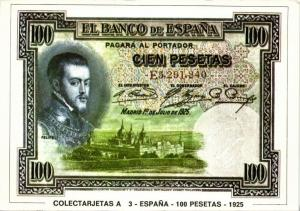 spain, Cien 100 Pesetas 1925, BANKNOTES Modern Money Postcard