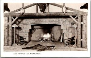 GLACIER NATIONAL PARK Real Photo RPPC Postcard Fireplace LAKE McDONALD HOTEL
