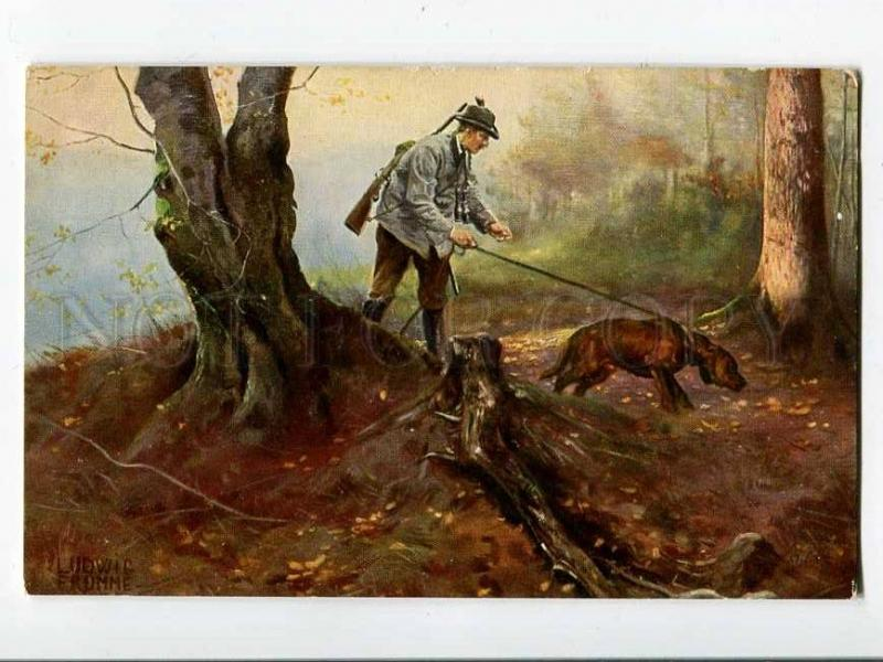 257066 HUNT welsh dog by Ludwig FROMME Vintage TUCK #535 PC