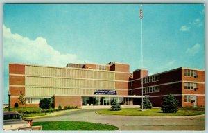 Waterloo Iowa~Pine Trees Dot the Lawn of Schoitz Hospital~Flag Pole 1950s PC