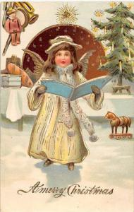 Christma Gold trim Victorian dressed Child angel singing