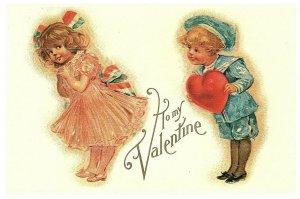 Pour Mon Valentin Petit Marin Garçon Fille & Lilian Vernon Carte Postale Vintage