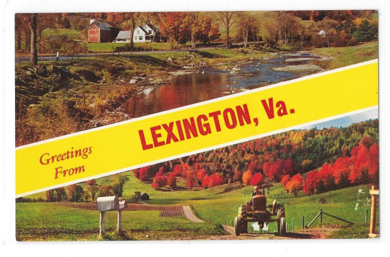 Greetings From Lexington VA Dual Autumn Views Farms Tractor Vintage Postcard