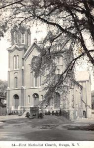 Owego New York First Methodist Church Real Photo Antique Postcard K92697