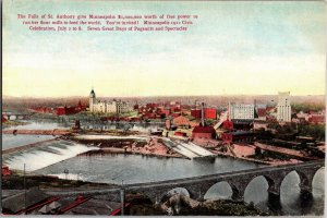View Overlooking the Falls of St. Anthony Minneapolis MN Vintage Postcard U14
