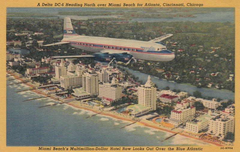 MIAMI BEACH , Florida , 1930-40s ; Delta DC-6 Airplane in flight