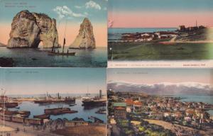 Beirut Boat Ships Lebanon Aerial 4x Antique Postcard Bundle