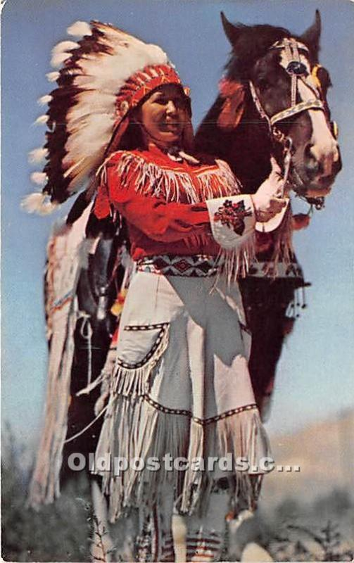 Wyoming Indian Maiden in Full Dress Indian Unused
